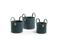 LivingStyles Bolton 3 Piece Cotton Rope Basket Set, Teal
