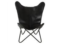 LivingStyles Akemi Leather & Iron Butterfly Chair, Black