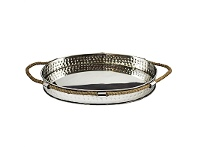 LivingStyles Milford Hammered Steel Decor Tray with Rope Handles
