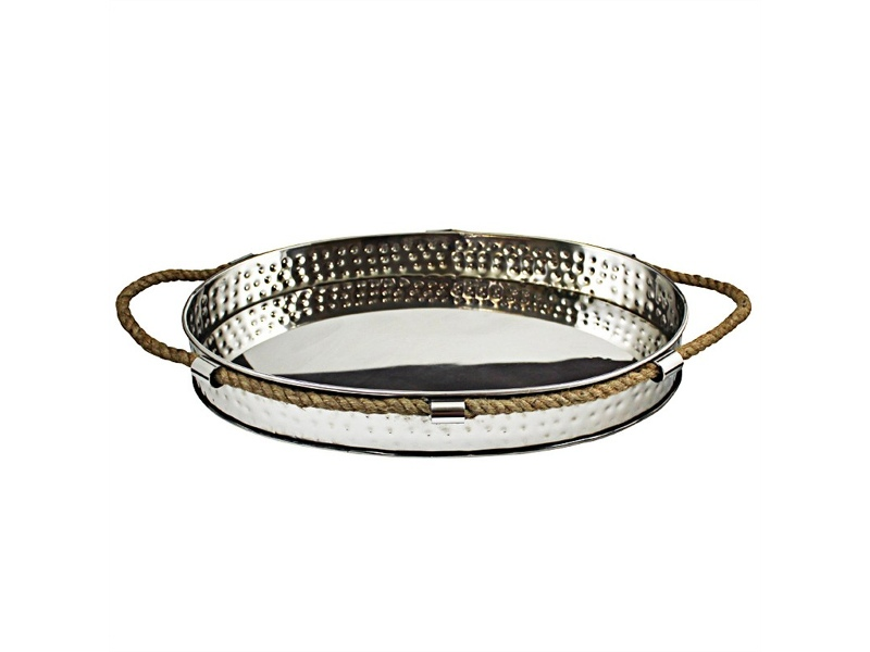 Milford Hammered Steel Decor Tray with Rope Handles