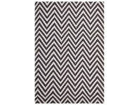 LivingStyles Modern Double Sided Flat Weave Chevron Design Cotton & Jute Rug in Chocolate - 280x190cm
