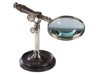 LivingStyles Cambridge Rosewood Handle Magnifier with Stand - Brass