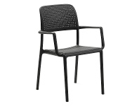 LivingStyles Bora Italian Made Commercial Grade Stackable Indoor/Outdoor Side Armchair - Anthracite