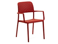 LivingStyles Bora Italian Made Commercial Grade Stackable Indoor/Outdoor Side Armchair - Red