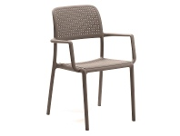 LivingStyles Bora Italian Made Commercial Grade Stackable Indoor/Outdoor Side Armchair - Taupe