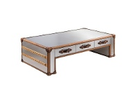 LivingStyles Ansonia Stainless Steel Vintage Coffee Table