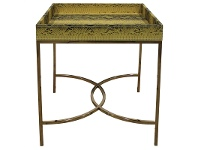 LivingStyles Olita Stainless Steel Side Table with Faux Phyton Skin Covered Tray Top
