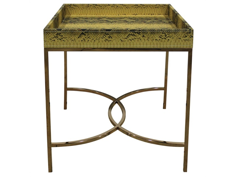 Olita Stainless Steel Side Table with Faux Phyton Skin Covered Tray Top