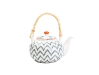 LivingStyles Jenkins Ceramic Oriental Teapot with Rattan Handle
