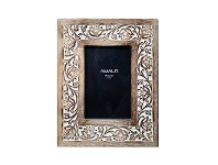 LivingStyles Anqul Hand Carved Mango Wood Photo Frame, 4x6""