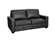 LivingStyles Astera Leather Sofa Bed with Innerspring Mattress, Black