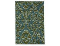 Alfresco Aspen Damask Egyptian Made Outdoor Rug, 320x230cm, Green / Turquoise