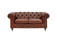 LivingStyles Kensington Aged Leather Chesterfield Sofa, 2 Seater, Vintage Brown