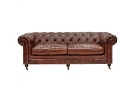 LivingStyles Kensington Aged Leather Chesterfield Sofa, 3 Seater, Vintage Brown