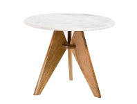 LivingStyles Alicante Marble Top Solid Teak Timber 56cm Round Coffee Table