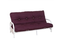 LivingStyles Alice Metal Futon Sofa Bed Frame Only, Double, White