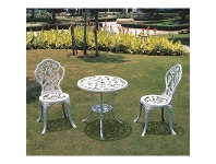 LivingStyles Vines Pattern Cast Aluminum 3-piece Outdoor Table Set in White