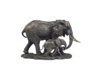 LivingStyles Veronese Cold Cast Bronze Coated Wild Life Figurine, Mother Elephant and child