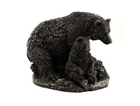 LivingStyles Veronese Cold Cast Bronze Coated Wild Life Figurine, Mother Bear and child