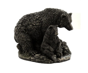 Veronese Cold Cast Bronze Coated Wild Life Figurine, Mother Bear and child