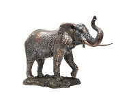 LivingStyles Veronese Cold Cast Bronze Coated Wild Life Figurine, Trunk Up Elephant