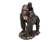 LivingStyles Veronese Cold Cast Bronze Coated Wild Life Figurine, Gorilla Mother and Child
