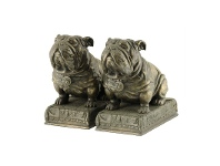 LivingStyles Veronese Cold Cast Bronze Coated Bulldog Bookend Set