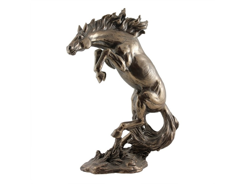 Veronese Cold Cast Bronze Coated Animal Figurine, Rearing Horse