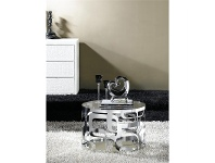 LivingStyles Rolna Glass & Stainless Steel Round Side Table