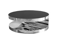 LivingStyles Cienista Glass & Stainless Steel Round Coffee Table, 90cm