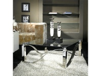 LivingStyles Wolska Glass & Stainless Steel Square Coffee Table, 100cm