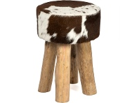 LivingStyles Lorenzen Cow Hide Round Stool, Tan / White