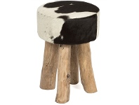 LivingStyles Lorenzen Cow Hide Round Stool, Black / White