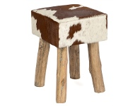 LivingStyles Lorenzen Cow Hide Square Stool, Tan / White