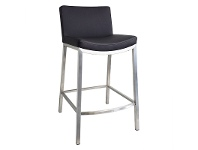 LivingStyles Amos Commercial Grade Stainless Steel Counter Stool with PU Seat, Black