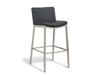LivingStyles Amos Commercial Grade Stainless Steel Bar Stool with PU Seat, Black