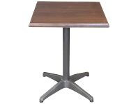 LivingStyles Mestre Commercial Grade Square Dining Table, 60cm, Dark Walnut / Anthracite