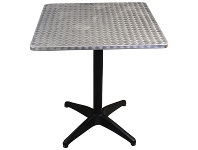 Mestre Commercial Grade Square Dining Table, 60cm, Silver / Black