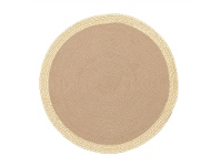 LivingStyles Milano Metallic Edge Hand Braided Jute Indoor/Outdoor 120cm Round Rug - Natural/Gold