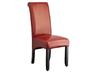 LivingStyles Averil PU Upholstered Dining Chair - Red/Wenge