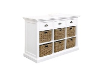 LivingStyles Halifax Mahogany Timber 3 Drawer Buffet Table with 6 Rattan Baskets, 125cm
