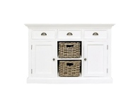 LivingStyles Halifax Mahogany Timber 2 Door 3 Drawer Buffet Table with 2 Rattan Baskets, 125cm