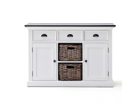 LivingStyles Scotia Contrast Black Top Solid Mahogany Timber 2 Door 3 Drawer 125cm Buffet Table with Rattan Baskets