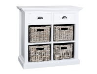 LivingStyles Halifax Mahogany Timber 2 Drawer Sideboard with 4 Rattan Baskets, 90cm