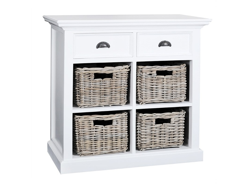 Halifax Mahogany Timber 2 Drawer Sideboard with 4 Rattan Baskets, 90cm