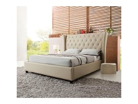 LivingStyles Scavo Leather King Bed - Latte