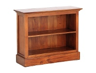 Adolf Solid Mahogany Timber Single Shelf Low Bookcase - Light Pecan