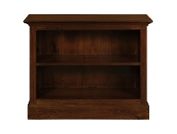 LivingStyles Adolf Solid Mahogany Timber Single Shelf Lowline Bookcase, Mahogany