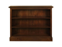 LivingStyles Adolf Mahogany Timber Double Shelf Lowline Bookcase, Mahogany