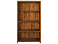 LivingStyles Amsterdam Solid Mahogany Timber Wide Bookcase - Light Pecan